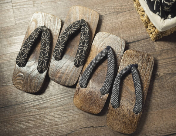 severals Geta, Traditional Japanese footwears resembling flip-flops