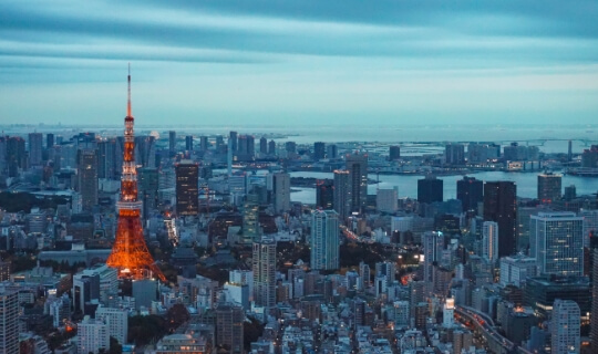 Night view of the skyline of Tokyo