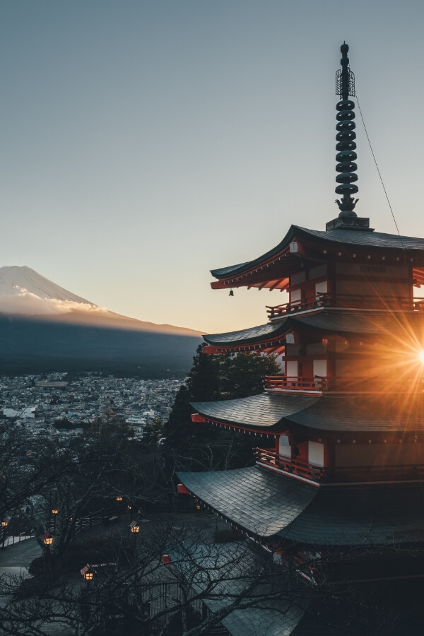 View of Tokyo with a beautiful shrine in front and the Mount Fuji in background