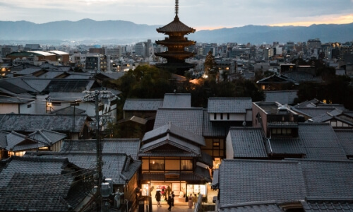 Sunset over the city of Kyoto Japan